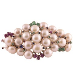 Pearl Ruby Emerald Sapphire Diamond Rose Gold and Silver Bracelet