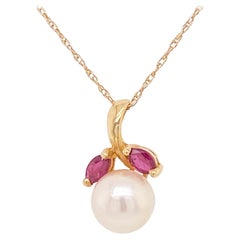 Pearl Ruby Pendant, 14 Karat Yellow Gold, Pearl Necklace, Leaf, Nature Inspired