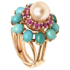 Pearl, Ruby, Turquoise and 14K Dome Cocktail Dome Ring Vintage