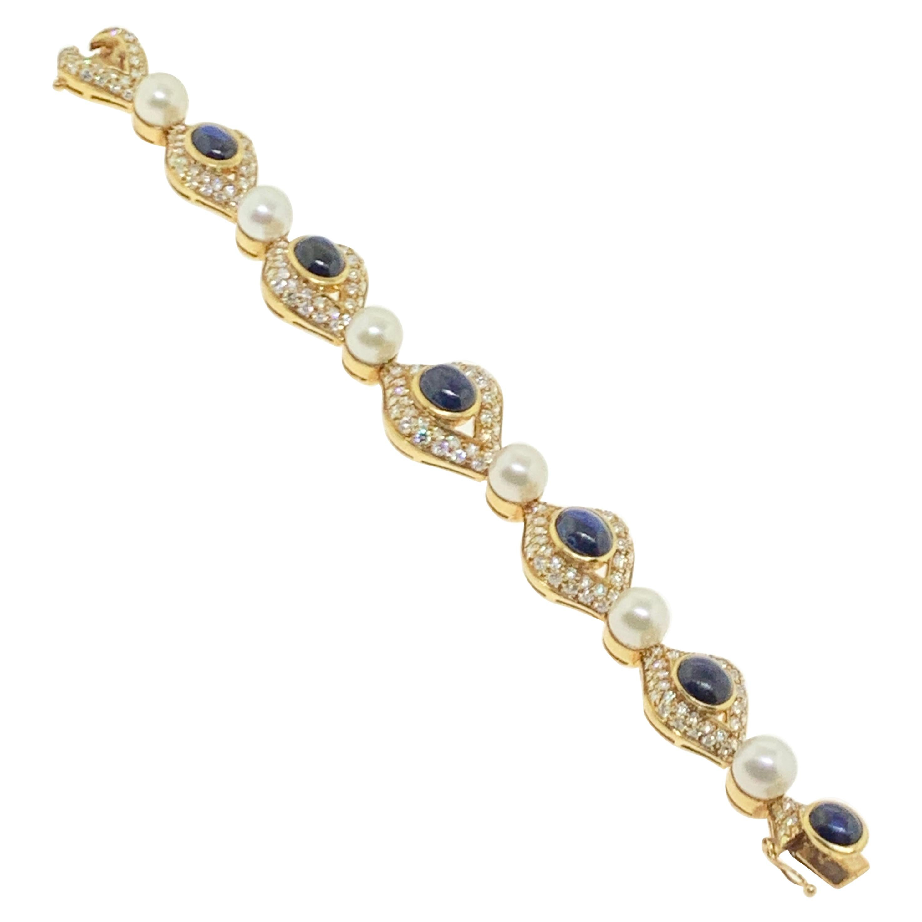 Pearl, Sapphire and Diamond Bracelet