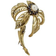 Pearl Sapphire Gold Palm-Tree Brooch