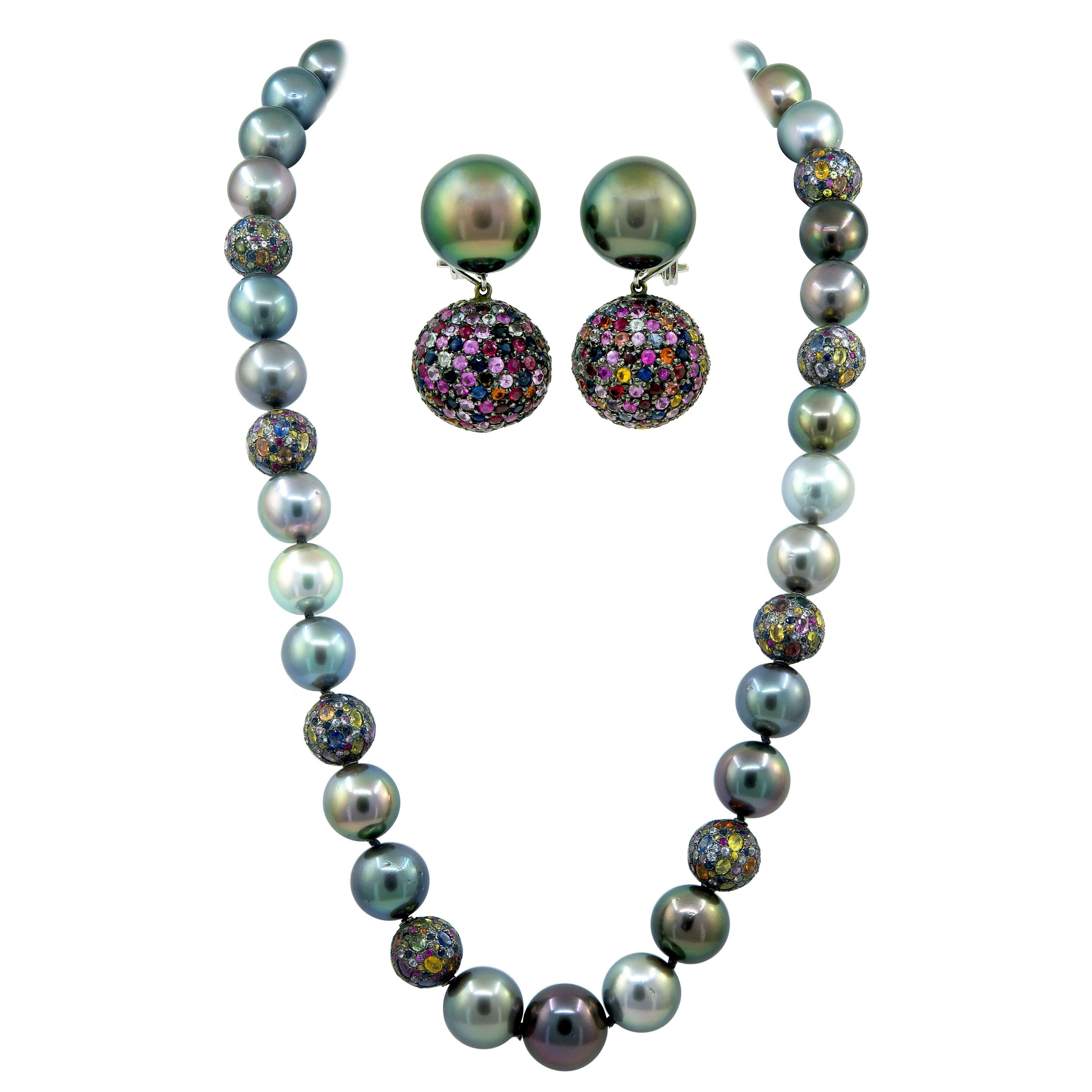 Haume Pearl Sapphire White Gold Necklace and Convertible Earrings Set