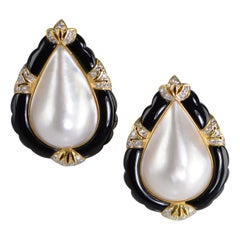 Pearl Shape Pearl Onyx Diamond Earrings