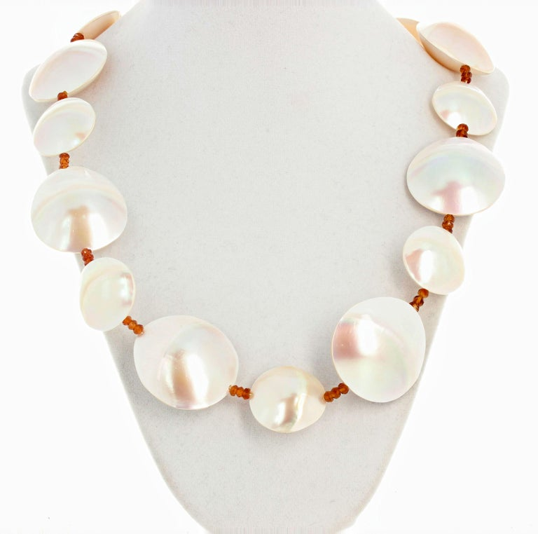 Pearl Shells and Natural Sparkling Hessonite Garnets Necklace In New Condition For Sale In Tuxedo Park, NY