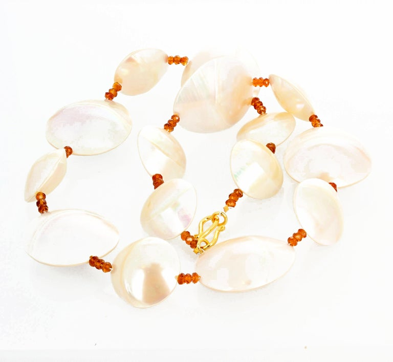 Women's or Men's Pearl Shells and Natural Sparkling Hessonite Garnets Necklace For Sale