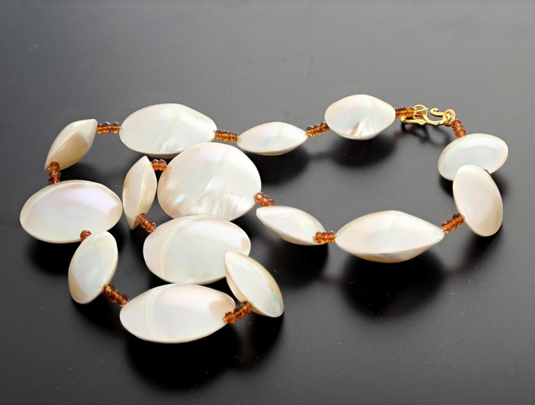 Pearl Shells and Natural Sparkling Hessonite Garnets Necklace For Sale 1