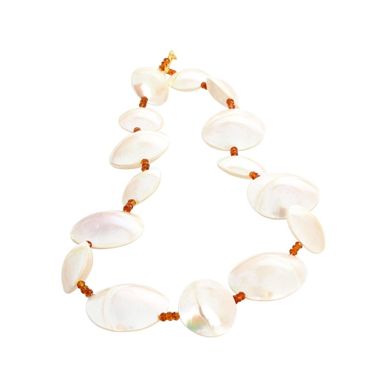 Pearl Shells and Natural Sparkling Hessonite Garnets Necklace For Sale