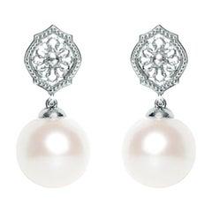 Pearl Sterling Silver Mauresque Drop Earrings Natalie Barney