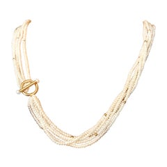Pearl Strand Necklace with 14k Gold Toggle Clasp Genuine Freshwater Pearl Chains
