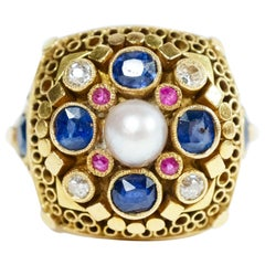 Pearl Surrounded by Sapphires and Diamonds, Ring by Elmar Seidler