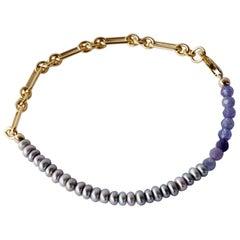 Pearl Bracelet Gold Chain Tanzanite J Dauphin