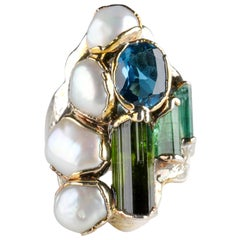 Pearl, Tourmaline Crystal and Topaz Modernist Ring, circa 1960s