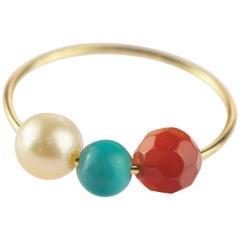 Pearl Turquoise Garnet 18 Karat Rose Gold Asteroid Boho Band Planet Ring