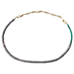 Turquoise Pearl  Beaded Choker Necklace  Gold Filled Chain J Dauphin
