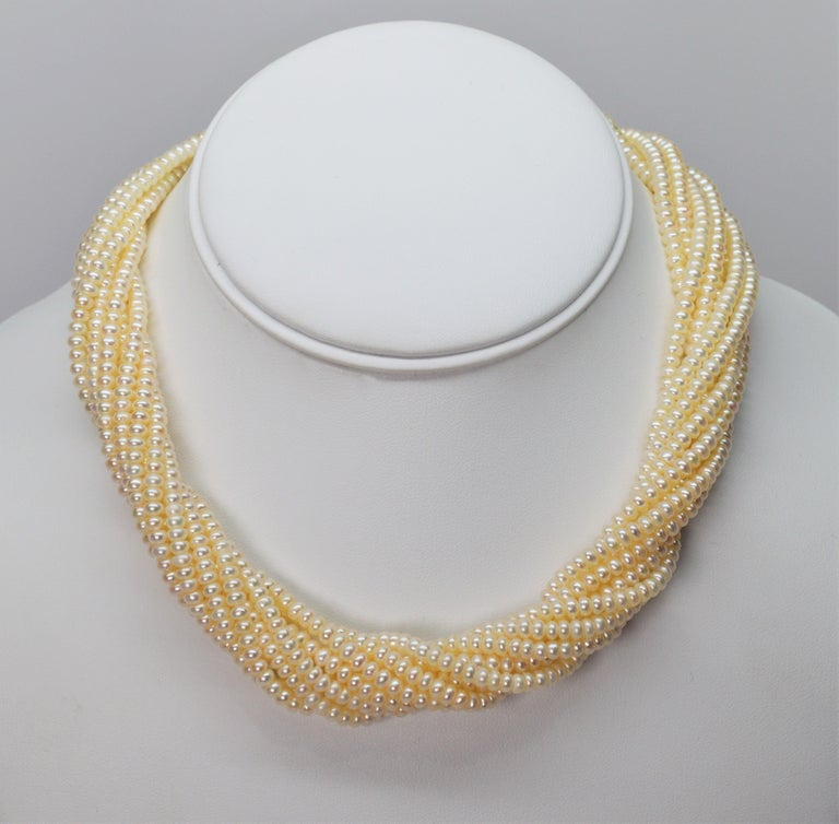 Pearl Twist Multi Strand Necklace & Bracelet Set with Yellow Gold Bow Tie Clasp In New Condition For Sale In Mount Kisco, NY