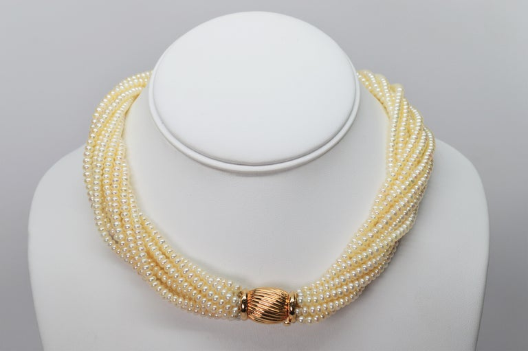 Women's Pearl Twist Multi Strand Necklace & Bracelet Set with Yellow Gold Bow Tie Clasp For Sale