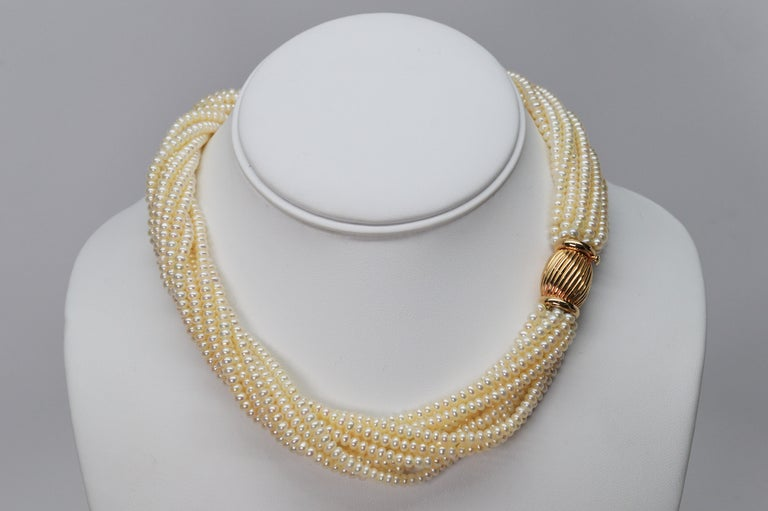 Pearl Twist Multi Strand Necklace & Bracelet Set with Yellow Gold Bow Tie Clasp For Sale 1