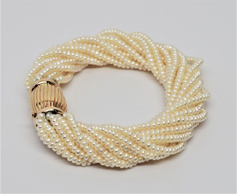 Pearl Twist Multi Strand Necklace & Bracelet Set with Yellow Gold Bow Tie Clasp For Sale 2