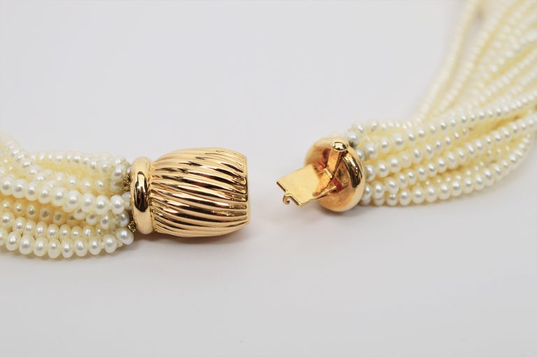 Pearl Twist Multi Strand Necklace & Bracelet Set with Yellow Gold Bow Tie Clasp For Sale 3