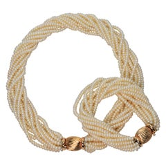 Pearl Twist Multi Strand Necklace & Bracelet Set with Yellow Gold Bow Tie Clasp