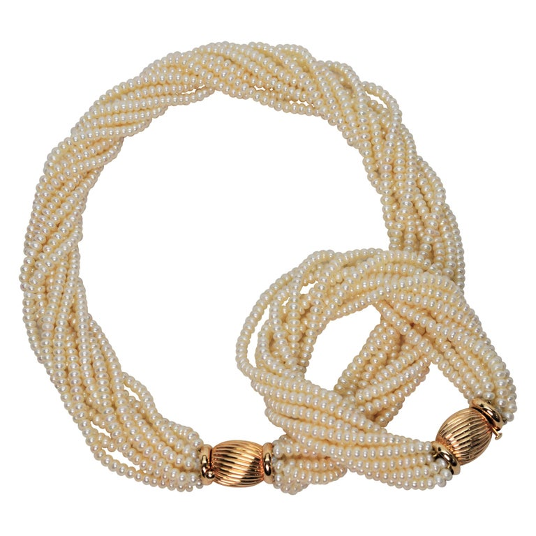 Pearl Twist Multi Strand Necklace & Bracelet Set with Yellow Gold Bow Tie Clasp For Sale