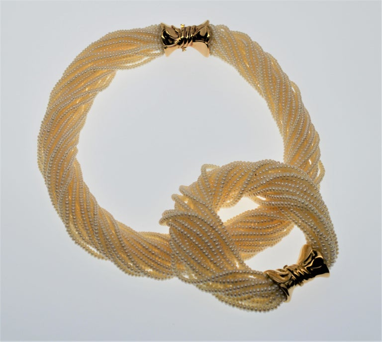 3c261ff5a474 Multi-Strand Pearl Twist Necklace & Matching Bracelet Set with 14 Karat  Yellow Bow Tie
