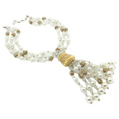 Pearl Vintage Necklace Crystal Tassel 1950s