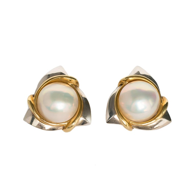 Pearl White Gold and Yellow Gold Cartier Clip Earrings