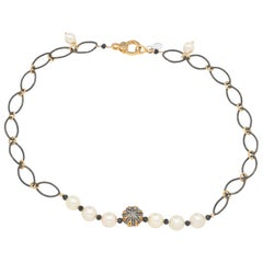 Pearl with Blackend Silver & Vermeil Diamond Puff Charm & Chain Necklace