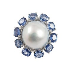 Pearl with Blue Sapphire Ring Set in 18 Karat White Gold Settings