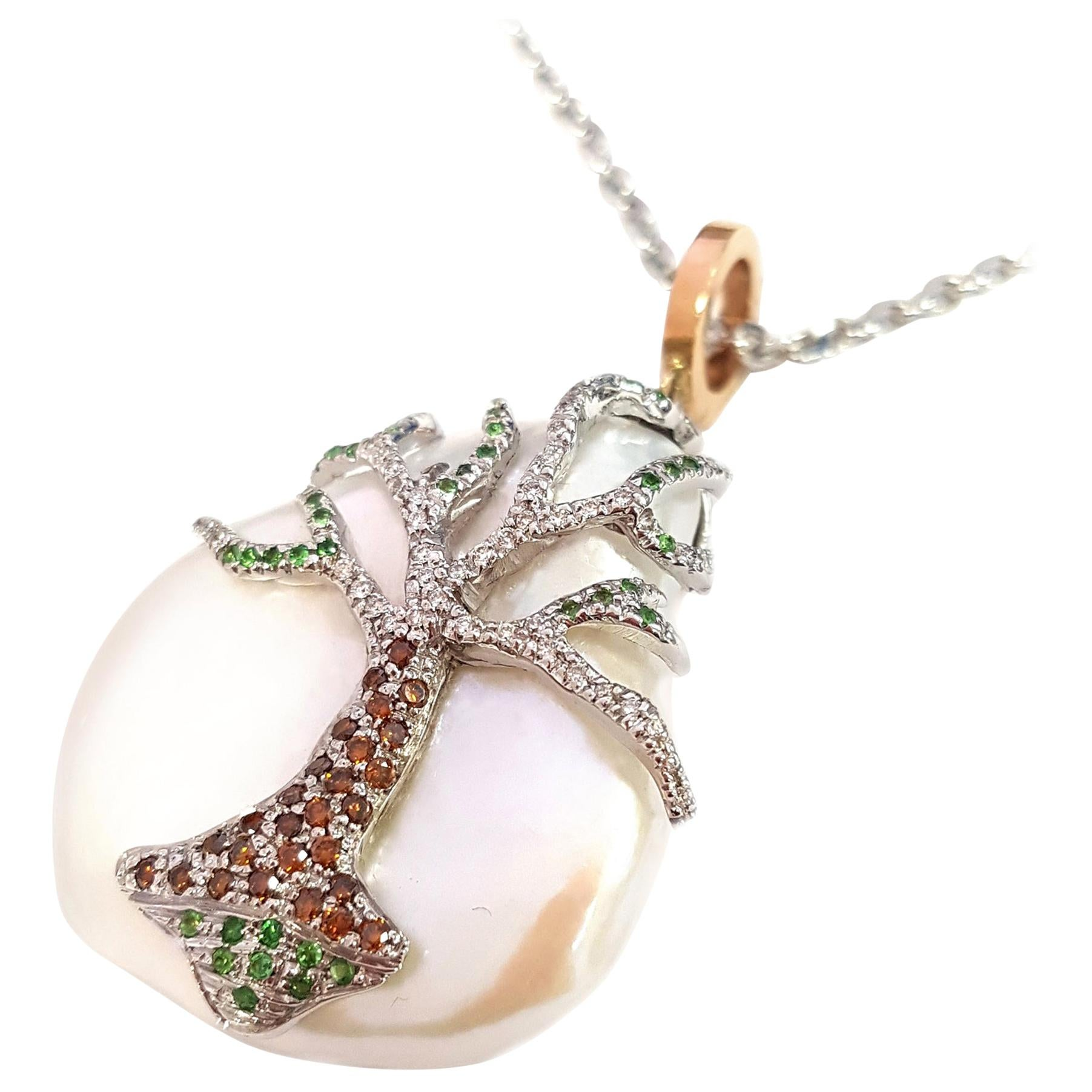 Pearl with Diamonds and Tsavorites in 18 Karat Gold Necklace