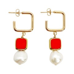 Pearl with Red Vintage German Glass Beads Earrings