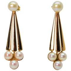 Pearl Yellow Gold Drop Earrings