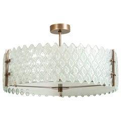 Pearlized White Murano Glass and Bronze Round Chandelier, Italy