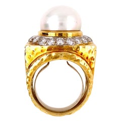 Pearls and Diamonds Modernist 18 Karat Gold Cocktail Ring Estate Fine Jewelry