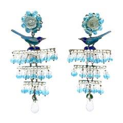 Pearls Apatites Quartz Roses Traditional Silver Enameled Earrings Vicente Gracia