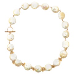 Pearls Citrines 9 Karat Gold Necklace Handcrafted in Italy by Botta Gioielli