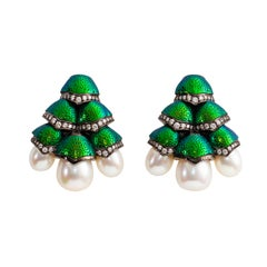 Pearls Diamond 18 Karat Gold Scarab Earrings