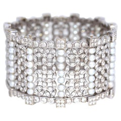 Pearls Diamonds 15 Carat White Gold Bangle Bracelet