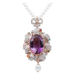 Pearls, Diamonds, Amethyst, Topazs, Peridots, Garnets,Tsavorite Pendant Necklace