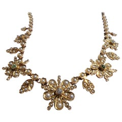 Pearls Diamonds Peridot Gold Victorian English Flower Necklace