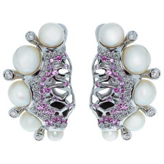 Pearls Diamonds Pink Sapphire 18 Karat White Gold Coral Reef Earrings