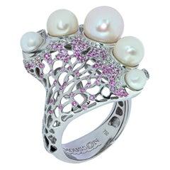 Pearls Diamonds Pink Sapphires 18 Karat White Gold Coral Reef Ring