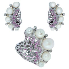 Pearls Diamonds Pink Sapphires 18 Karat White Gold Coral Reef Suite