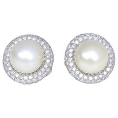 Pearls Diamonds White Gold Clip-On Earrings, 2000
