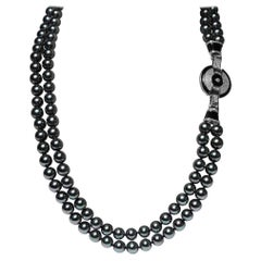 Art Deco Style Two Strand 10mm Black Tahiti Faux Pearl Opera Length Necklace
