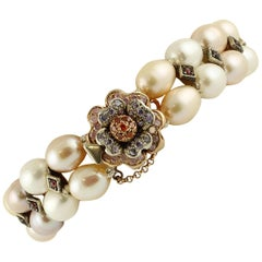Pearls, Garnets, Colored Hard Stones, 9 Karat Rose Gold and Silver Bracelet