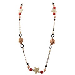 Pearls, Hard Stones, 9 Karat Rose Gold and Silver Long Necklace