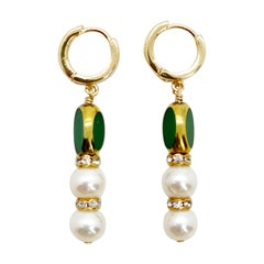 Pearls & Matte Green Vintage German Glass Beads edged with 24K gold Earrings
