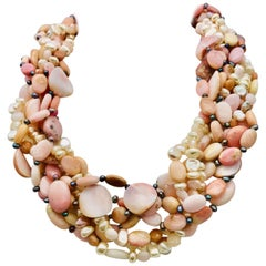 Pearls Pink Opal Conch Beads Vermeil clasp Beaded Necklace  by Sylvia Gottwald